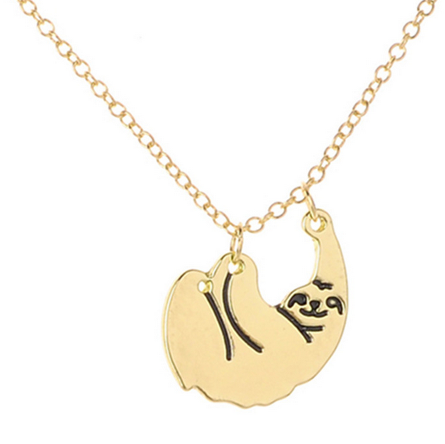 Delicate Choker Personalized Metal Animal Pendant Tree sloths Necklace