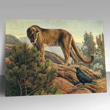 3d wild animal oil paintings of climbing moutain lion