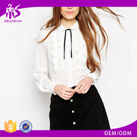 2016 Guangzhou Shandao OEM Custom Logo Women Autumn Casual Long Sleeve White Cotton Blouse Front Neck Design