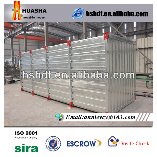 Low cost, foldable, galvanized steel storage container