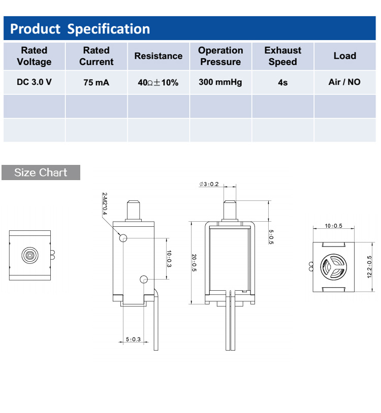 DC 3V One Way One Position Normal Open Solenoid Valve For Medical Machine