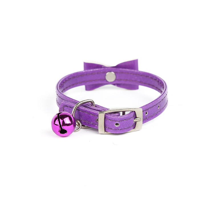 Wholesale prices good quality bow purple pu small bell cat dog training collar