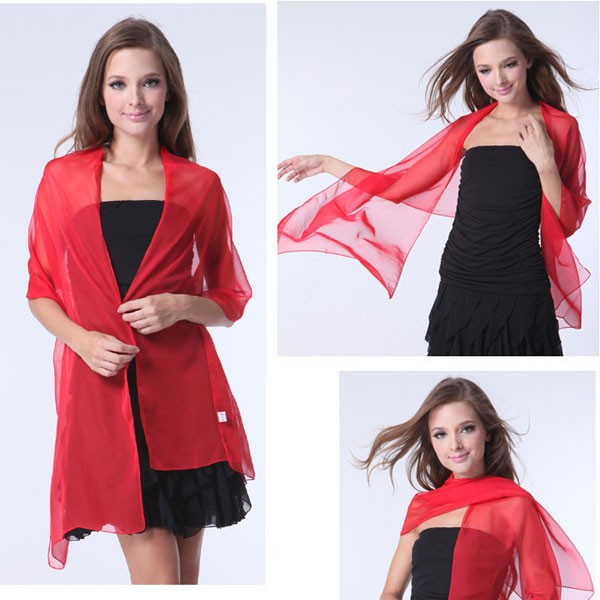 solid colour pure silk long chiffon plain scarf