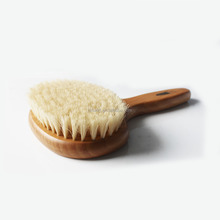 Natural wood Dry body brush with wood handle and long bristle