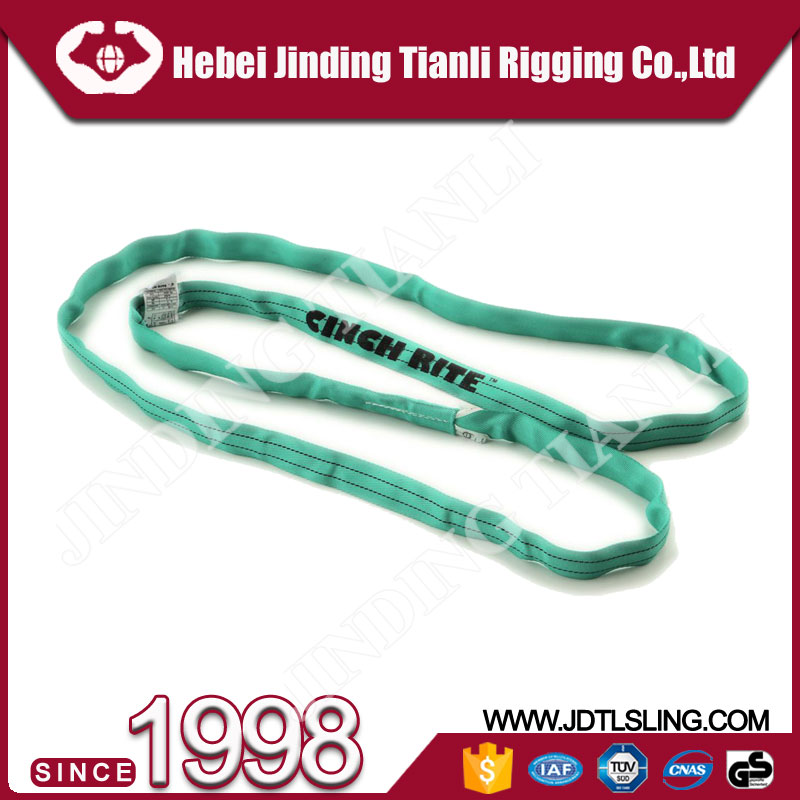 Indian semi-finished 2 ton green color 50mm width lifting webbing belt with 4:1 or 5:1 safety factor