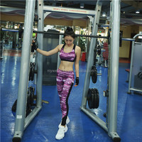 Professional high elastic sports fitness pants galaxy printing net yarn side running yoga pants