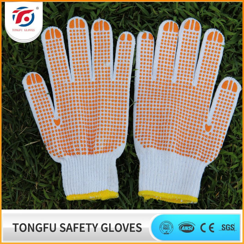 high quality string knit pvc dotted/dot fabric work/working glove