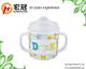Dishwasher safe food grade two handles melamine children milk cup with custom printing