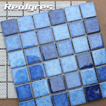 DY48B03-1 Blue Transparent Solar Lights Ceramic Ice Crack Glass Frosting Mosaic Tile Patterns For Tables