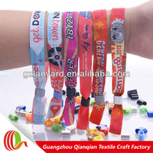 embroidery Celebration Event Custom Woven Fabric ID Wristbands With Lock