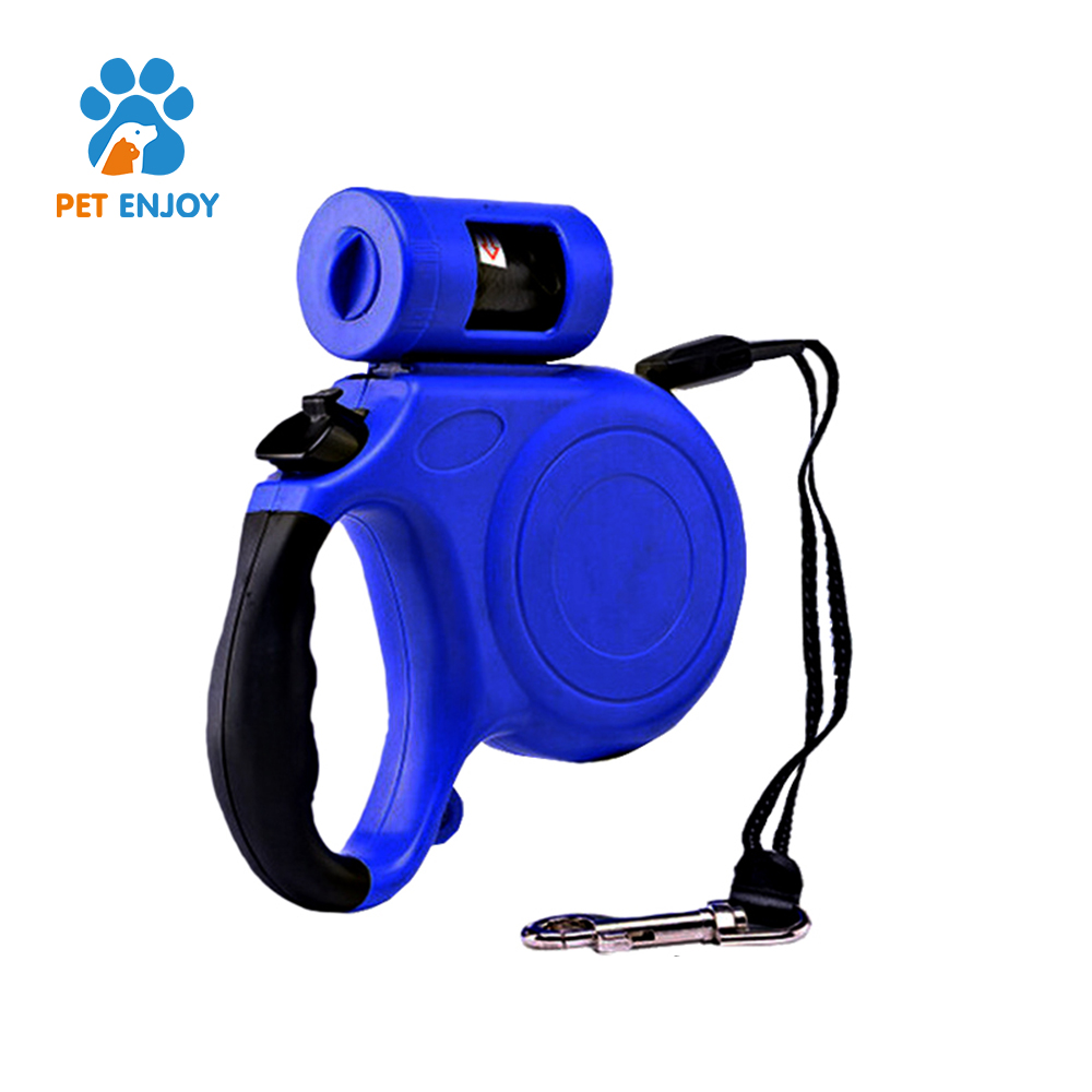 5 M /16 ft Professional Dogs Biking Leash, One Button Break and Lock Retractable Dog Wlak Leash with Flash Led Light