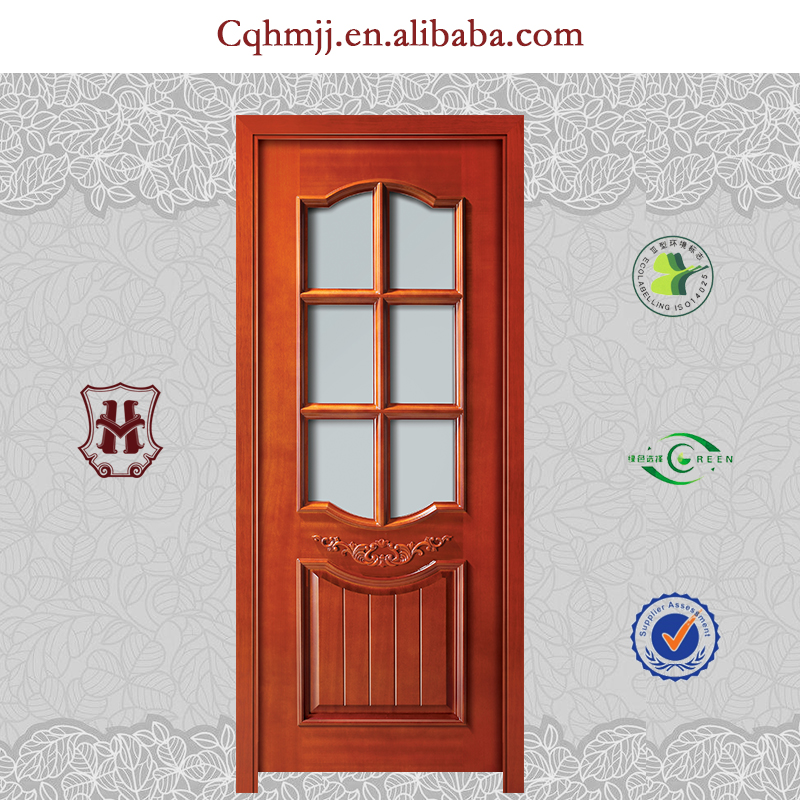 Double leaf flush door with red color and window design