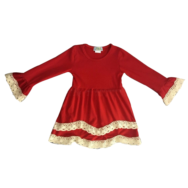 Boutique Christmas clothing baby girls dresses ruffle long sleeve baby wear cothes wholesale