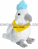 plush white cockatoo toys logo imprinted bandana yellow animal toys soft 401