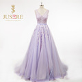 Fashion Purple Ball Gown V Neckline Long Evening Dresses Floor Length Formal Dresses Gown With Lace Appliques
