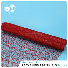 TOP sale comfortable design Glitter Maple Leaves mesh floral print wrapping paper roll