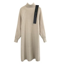 Single Color Turtleneck Latest New Style Women Sweater Dress