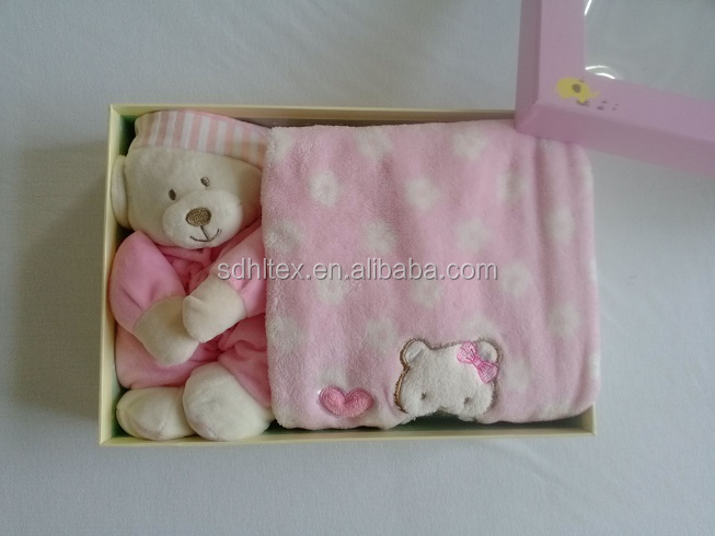 Baby gift box, baby blanket+plush toy, velour+ coral fleece