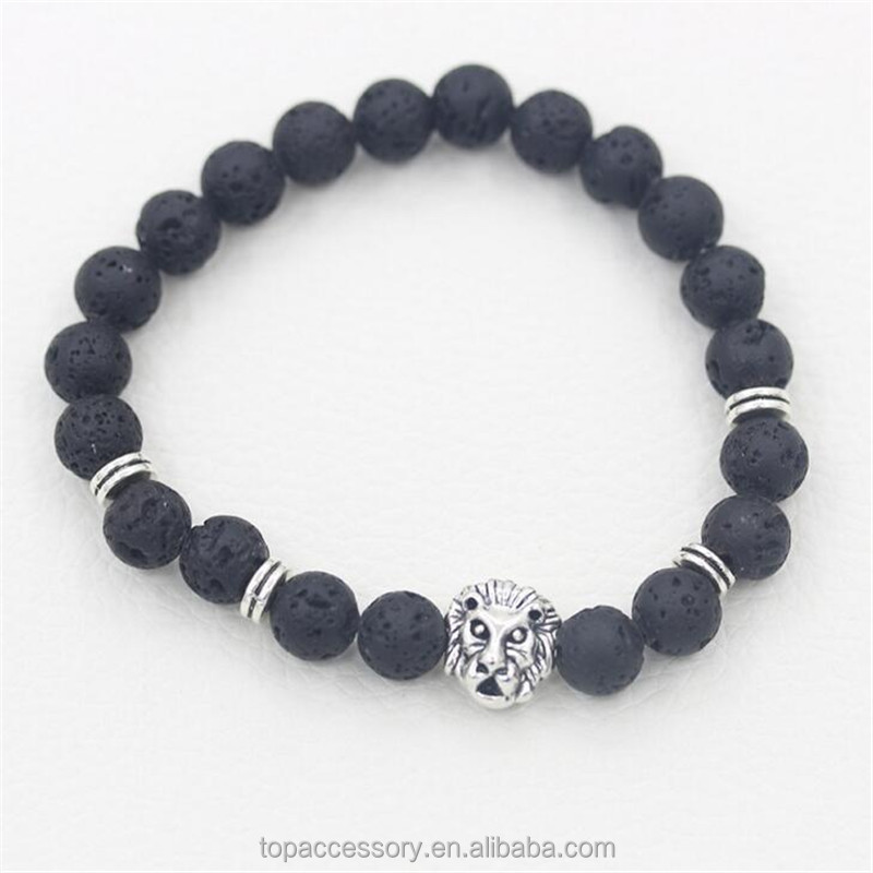 TBC6907-18 2017 New Fashion Cheap Buddha Natural Stone Lava Beads Charm Elasticity Matte bracelet