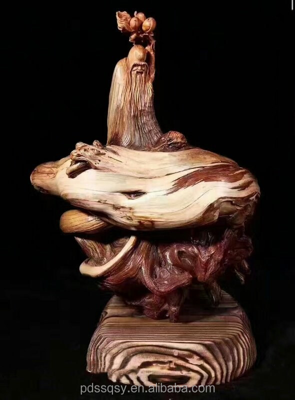 Root carving craft hand carved wooden Buddha natural shape wood