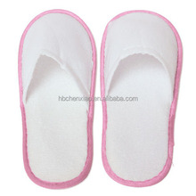 White terry Towelling Hotel Disposable Slippers Terry Spa Guest Shoes