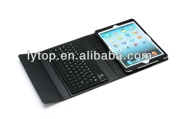 Black Silicone+PU Bluetooth Keyboard for iPad Air With Leather Case Stand