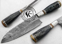 "11.00"" Custom Made Beautiful Damascus Steel Chef Kitchen Knife (AA-0198-6)"