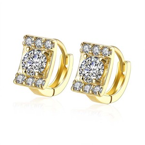 Wholesale 18k gold jewelry luxury crystal zircon hoop earrings for women