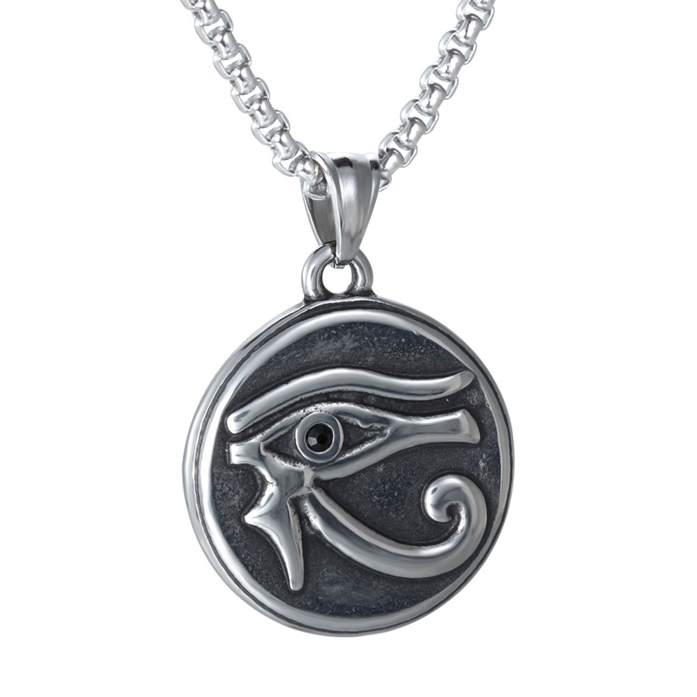 Cool Vintage Titanium Steel Ancient Eye of Horus necklace for men boy Gift Daily Wearing