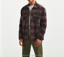 China garments manufactory Mens quilted cargo shirt flannel checked quilted casual shirts for man