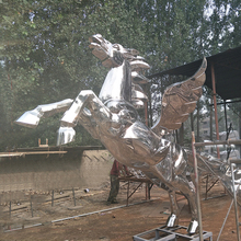 life size silver horse statues stainless steel for sale