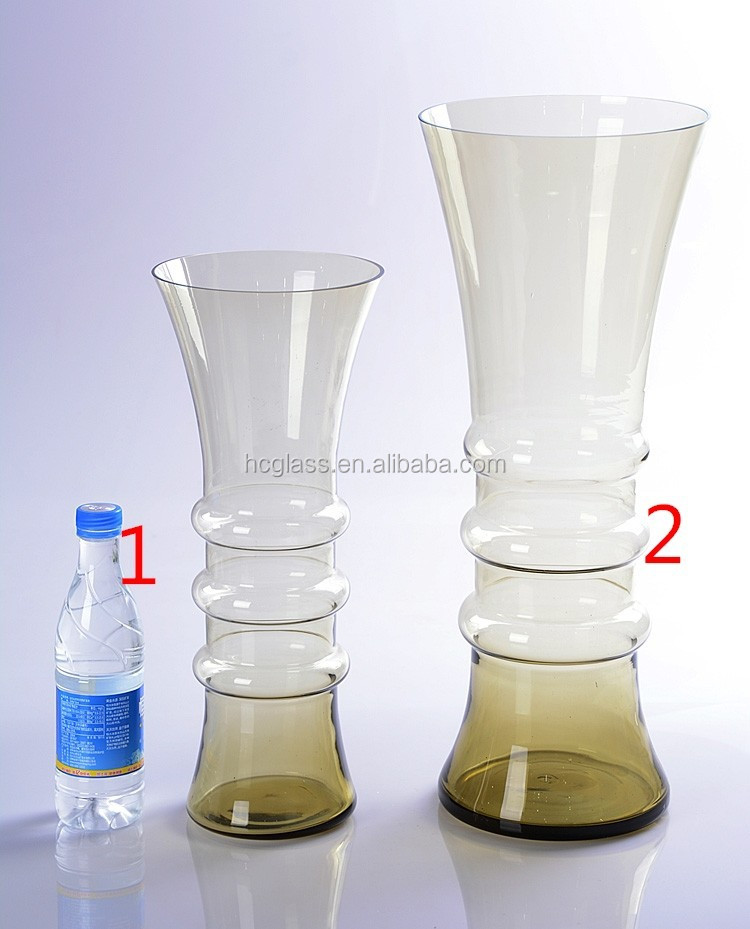 Brown tall double glass vase