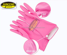 cheap flock lined latex glove for feet dish washing gloves latex coated industrial gloves