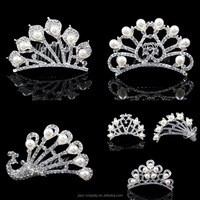 Fashion bridal crystal pearl hair accessories flower tiara crown wedding jewelry