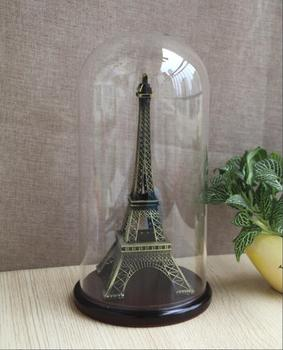 15x26cm mini glass dome with wooden base clear glass dome