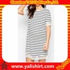 Popular new style comfortable bulk oversized cotton casual stripe tshirt dress with lace hem