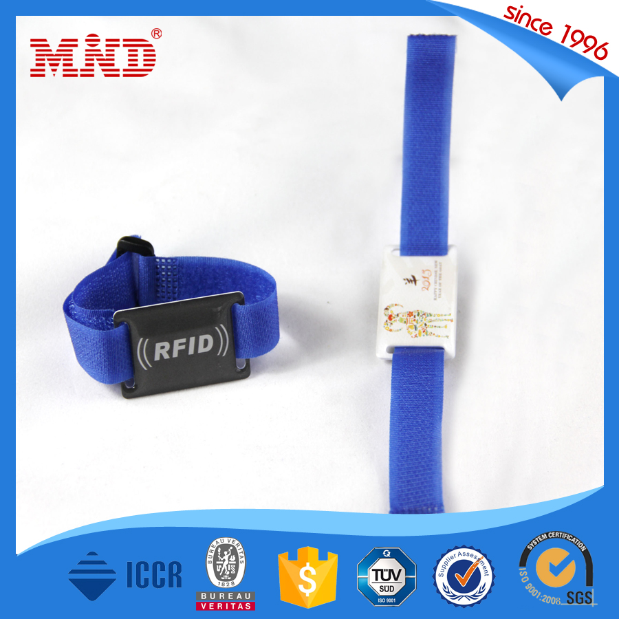 MDWW09 colorful custom printing fabric woven wristbands festival with RFID chip