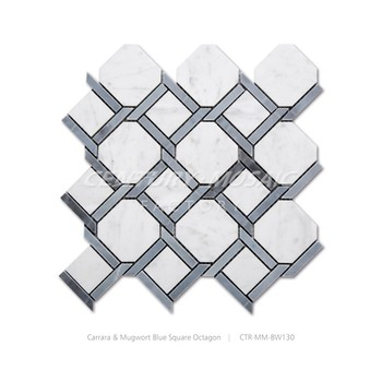 carrara and blue marble octagon mosaic bathroom floor tiles