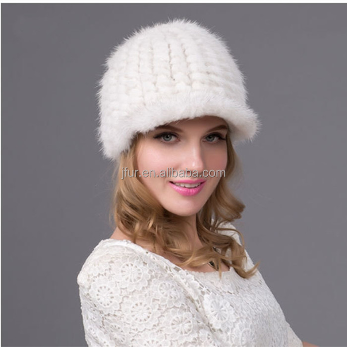 Winter White Caps Real Knitted Mink Fur Hat For Women