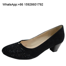 Designer Glamour Wide fit Suede Rhinestones Black Middle heel shoes TL98