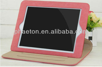 Hot brand red leather case for ipad 3, for Ipad case with stand
