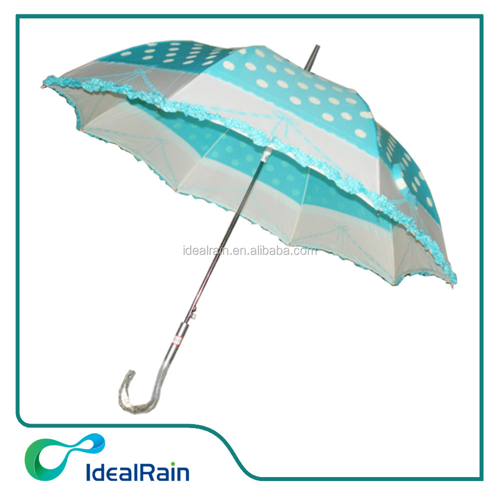 Pretty dome blue & white dot dome shape umbrella lace