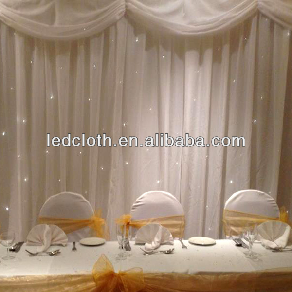 wedding with fairy lights drapes