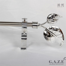 Popular Style Nickel Metal Curtain Rods 28mm Wall Single Bracket curtain pole sets with rings