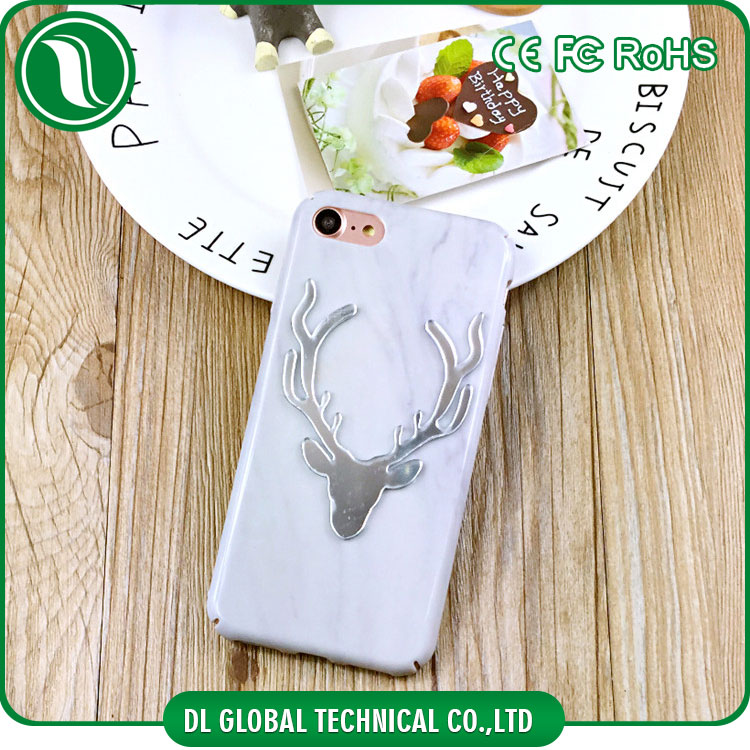 Christmas marble case with reindeer hard plastic full cover edges for iphone 6 phone shell