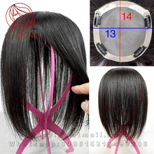 13*14cm human hair toupee top thin skin hair replacement systems Women toppers Hand tied mono filament 3# Hair piece toupee wigs