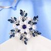 HR8032 Huilin New year gifts rhinestone leaf brooch for scarf buckle crystal diamond pearl brooch women garment accessories