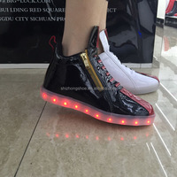 2016 Girls Supper Fashion LED Light Shoes with side zipper