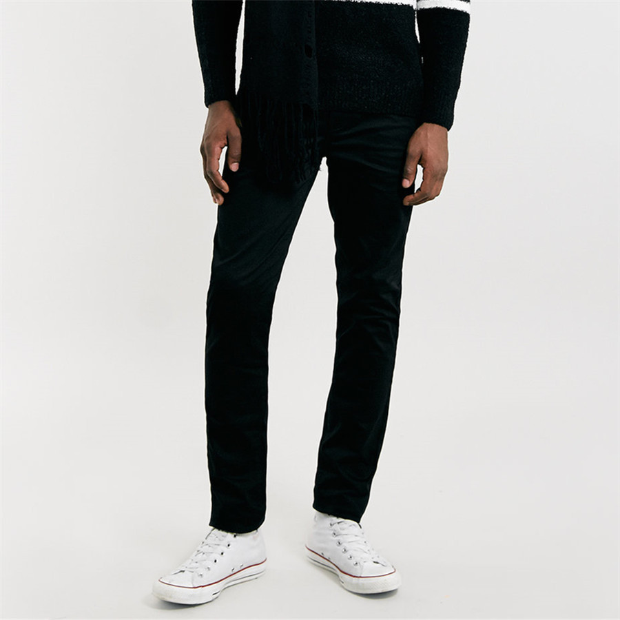 Black stretch skinny dress pants for men with low price