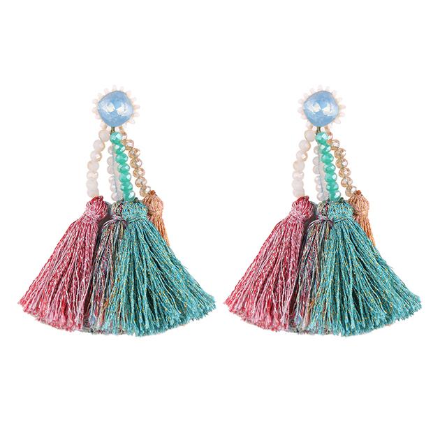 13959 Dvacaman 2018 wholesale magnetic pearl tassel rhinestone women accessories multicolor beaded earrings